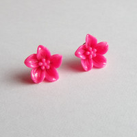 Pink Lily Flower Earrings Post Studs Floral Jewelry