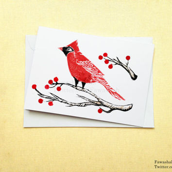 Red Cardinal Bird, Handmade Card, Holidays Card, Linocut, Blank inside, uk