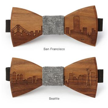 Skyline Wooden Bowties | wooden accessories, gift for men