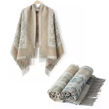 Winter Cashmere Tassels Thicken Scarf [6047672513]