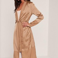 Missguided - Tall Satin Two Tone Bomber Duster Coat Camel