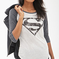 FOREVER 21 Superman Baseball Tee Cream/Charcoal