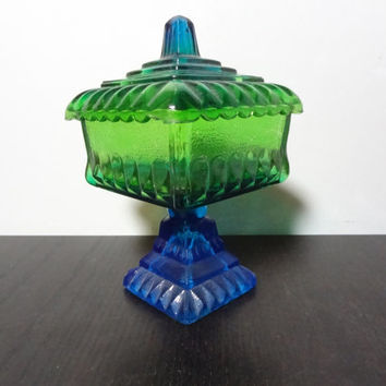 Vintage Ombre Blue and Green Carnival Glass Covered Candy Dish