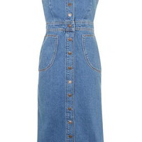 MOTO Pinafore Button Front Dress - Mid Stone