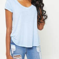 Blue Washed V Neck Tee