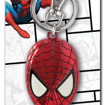 Marvel Spider-Man Colored Head Pewter Keychain