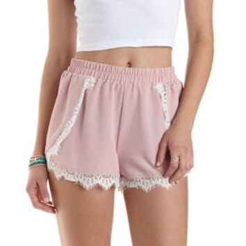 Lace-Trim High-Waisted Shorts by Charlotte Russe