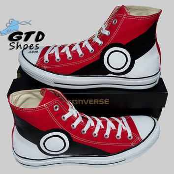 Hand Painted Converse Hi Sneakers. Pokemon. Pikachu. Anime. Cartoon. Handpainted shoes.