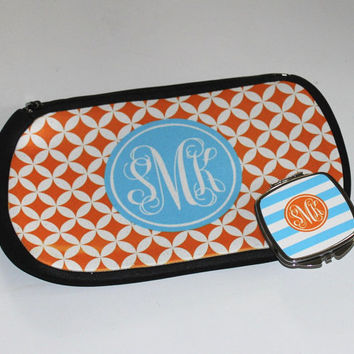Monogrammed Makeup Bag - Matching Compact Mirror - Monogrammed Gift - Choose your Design and Colors