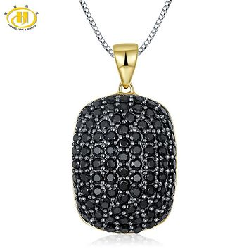 Hutang Natural Black Spinel Solid 925 Sterling Silver Gold-color Pendant Necklace Micro-set Gemstone Fine Jewelry Women's Gift