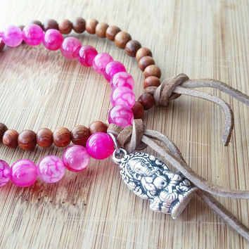 Ganesha wood bracelet set | stretchy yoga jewelry