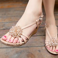 WowDresses — Elegant Leather Wedge Heel Sandals Buckle