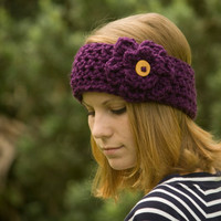 Ear Warmer Headband with Flower, Wood Button, Purple, Christmas in July Sale, CIJ