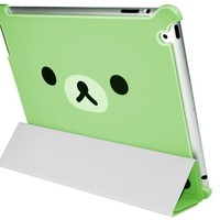 Supermary Lovely Relax Rilakkuma Bear Smart Cover with Hard Back Case for ipad2 and new ipad 3 - green