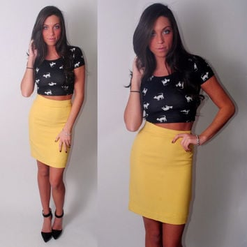 Vintage 1990s MOSCHINO Cheap and Chic tiny fit yellow High Waisted tight sexy pencil skirt