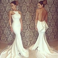Women's Bridesmaid White Sexy Full Length Backless Off-shoulder Fishtail Mermaid Formal Evening Dresses Party Gown Wedding Long Maxi Dress D_L [7977986055]