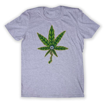 Weed Leaf Tee Stoner Marijuana All Seeing Eye Dope Mary Jane Graphic T-shirt