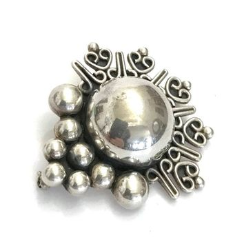 Taxco Sterling Silver Brooch, Carsi Signed, Three Dimensional Design, Center Dome, Bead Ball & Intricate Silver Swirl Accents, Gift for Her