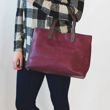 Mariah Medium Tote- Merlot