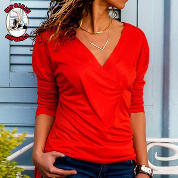 New fashion solid color long sleeve top women Red