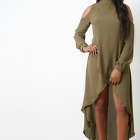 Cold Shoulder Mock Neck Tulip Midi Dress