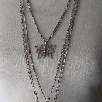 Butterfly Pendant Necklace, 36 inch Silver Triple Strand, 3 Butterflies