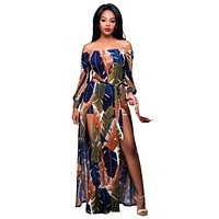 Women Stylish Double Slit Off Shoulder Jumpsuit Sexy Colorful Print Long Sleeve Belted With Maxi Skirt Slash Neck Short Rompers