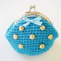 Crochet tuquoise coin purse, gold tone flatback beads silver tone kiss clasp, metal frame