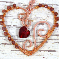 Copper garnet heart necklace wire wrapped jewelry dark red gemstone Swarovski crystal heart handmade wire wrap pendant Phoenix Fire Designs