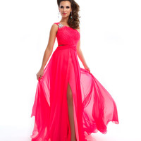 Mac Duggal Prom 2013 - One Shoulder Candy Pink Gown - Unique Vintage - Cocktail, Pinup, Holiday & Prom Dresses.