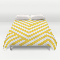 Yellow and White Stripes Duvet Cover by Liv B