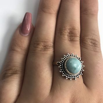 Larimar Sun Sterling Silver Ring