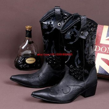 MENS LUXURY ITALIAN KNEE-HIGH POINTED TOED EMBROIDERED COWBOY BOOTS