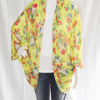 Floral Cocoon Cardigan/ Lightweight Knit Wrap/ Long Cocoon Jacket/ Batwing Sleeve Cardigan/ Bright Neon Oversized Kimono