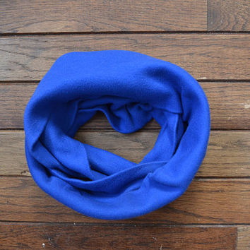 Blue Infinity Scarf, Royal Blue Scarf, Children's Scarf, Blue Jersey Scarf, Circle Scarf, Vintage Fabric Scarf, Blue Snood, Blue Cowl