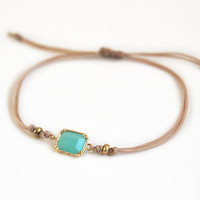 Minimalistic bracelet, mint faceted stone bracelet with beige cord, friendship bracelet, gift for her
