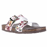 madden girl Brando Comfort Slide Sandals - White Multi