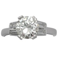 1.90 ct Diamond and Platinum Solitaire Ring - Art Deco Style - Vintage