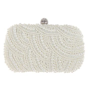 Oval Shaped Pearl Beaded Handbag Women White Clutch Bag Elegant Long Chain Shoulder Handbags Wedding Bridal Purse Clutch Female