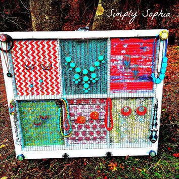Jewelry Organizer - Window Jewelry Holder -Vintage Distressed Aqua Window with Chicken Wire - Accessories and Picture Holder