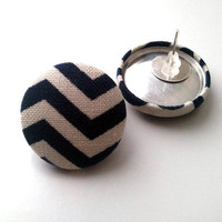 Navy blue and white chevron button earrings