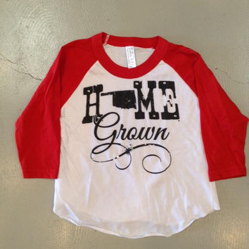 Home Grown with Red 3/4 Sleeves- Toddler & Kids (Oklahoma)