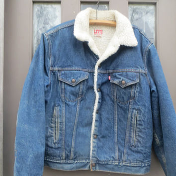 Vintage Mens size 44 L  Levi's San Francisco Sherpa Lined Denim  Jacket  80S