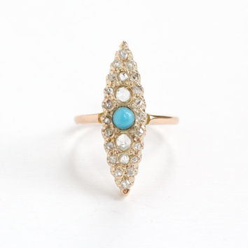 Antique Victorian 10k Rose Gold Rose Cut Diamond Turquoise Ring - Size 5 1/2 Statement Navette Marquise Blue Cabochon Fine Jewelry