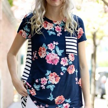 Floral Stripe Pocket Tee