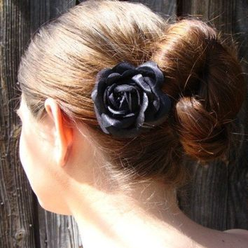 Small Black Rose Hair Comb Bridal Bridesmaid Weddings Hair Jewelry Pin Clip Hairpiece Flower Simple