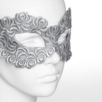 Silver Embroidery Masquerade Mask -  Lace Applique Covered Venetian Style Prom Mask