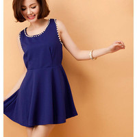 Pretty Beads Decorated Collar Sleeveless Expansion Dress 2 Colors
