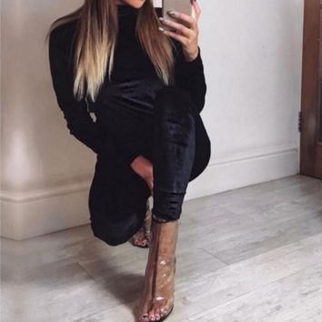 Autumn and winter women 's new long - sleeved dress fashion pants Black
