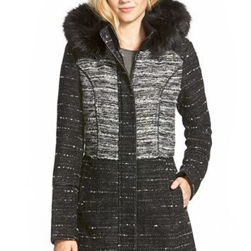 Women's Catherine Catherine Malandrino Two-Tone Tweed Coat with Faux Fur,